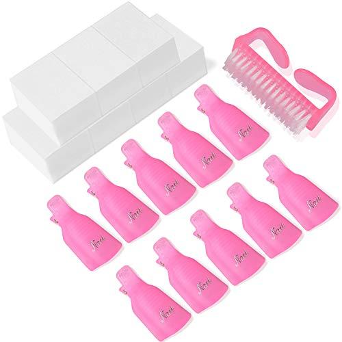 Nail Polish Remover Clips Set,TsMADDTs 600Pcs Nail Wipe Cotton Pads 10Pcs Nail Clips 1Pc Handle Grip Nail Brush