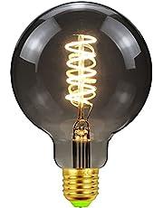 E27 Edison LED-glödlampor, 4 W, stor glob vintage filamentskruv i glödlampor, blandade mönster dekorativa hängande glödlampor för heminredning sovrum dekoration, inget flimmer, aska