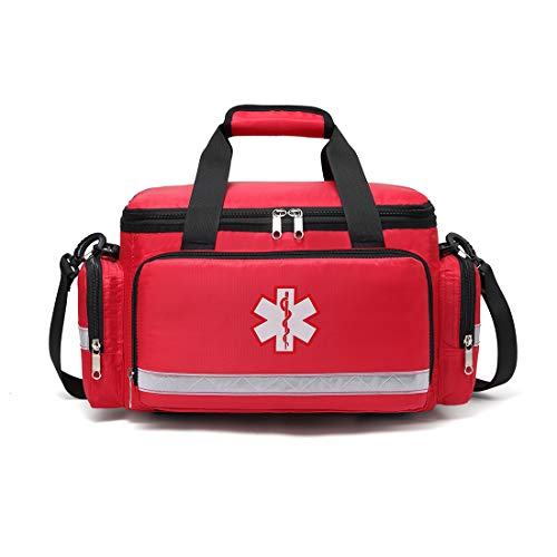 First Aid Trauma Jump Bag Empty for First Responder EMT EMS Nurse Medical Medic Duffle Duffel Carry On Emergency Ambulance Treatment Equipment Storage Organizer Large School Home Hiking Camping