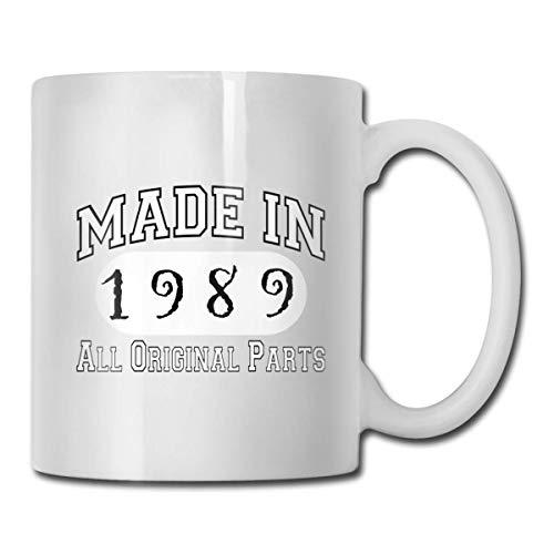 30.os regalos de cumpleaños fabricados en 1989, todas las piezas originales Taza, taza de café para bebidas calientes, taza de gres, taza de café de cerámica, taza de té de 11 onzas