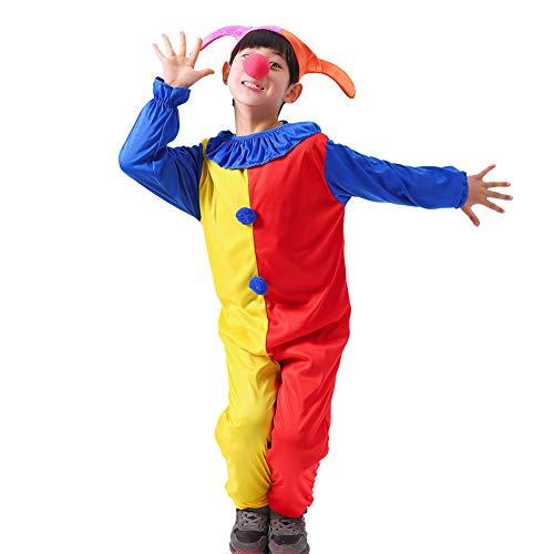 WYX Cosplay Kinder Spitzer Hut Lustiger Clown Uniform Kinder Halloween Karneval Weihnachten Kostüme Full Set Abendkleid,a,L