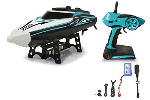 Jamara 410142 Climater Speedboot Li-Ion 7,4V 2,4GHz – 25 Kmh, Schiffsschrauben drehen nur im Wasser, Metall Ruderanlenkung, Antriebswelle, Führungsrohr,per Fernbedienung aufrichten, türkis/schwarz