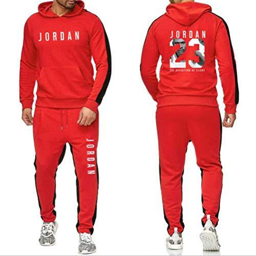 FSBYB Hommes Survêtements Ensemble 2 pièces, 23 Jordan Jersey Sport Costume Sweat à Capuche Manches Longues Longues Pantalons Costume de Sport,Rouge,XL