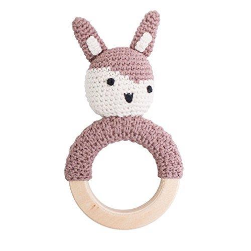 Häkel-Rassel, Siggy das Kaninchen auf Holzring, Midnight Plum
