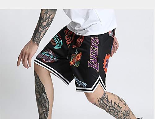 RNGUP Casual Sports Shorts für Herren Wettkampftraining Basketball Shorts Strandtaschen Shorts im Freien locker und atmungsaktiv-Black-XXXL