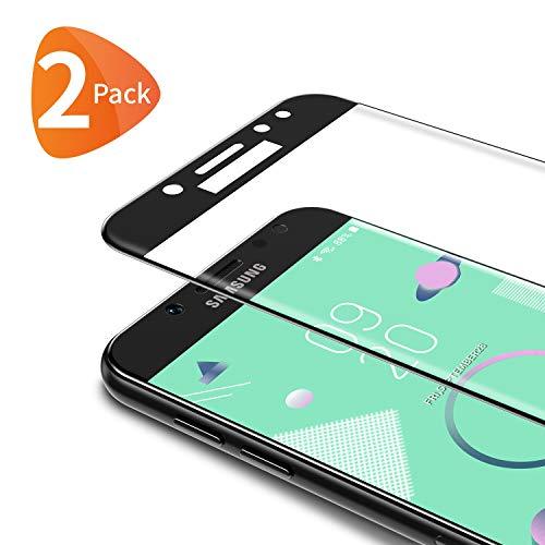Bewahly Panzerglas Schutzfolie für Samsung Galaxy J7 2017 [2 Stück], 3D Curved Full Cover Panzerglasfolie Ultra Dünn HD Bildschirmschutzfolie 9H Festigkeit Folie für Samsung Galaxy J7 2017 - Schwarz