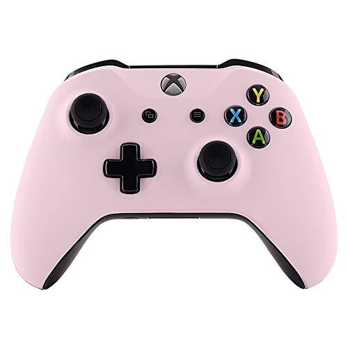 eXtremeRate Carcasa para Mando Xbox One S/X Accesorios Protectora Suave al Tacto Placa Frontal Funda Delantera Kit de reemplazo Cubierta Shell para Controlador de Xbox One S/X(Model 1708) Sakura Rosa