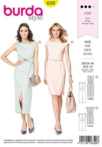 Burda Patrones de costura 6320 para vestidos de mujer (tallas 34 a 44)