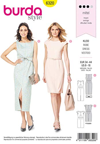 Burda Schnittmuster 6320, Kleid[Damen, Gr. 34-44] zum selber nähen, ideal für Fortgeschrittene [L3]