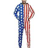 ZYUEER Combinaison Pyjama Homme, Jumpsuit Casual Manche Longue Pantalons GrenouillèRes Pas Cher (L, Rouge 22)