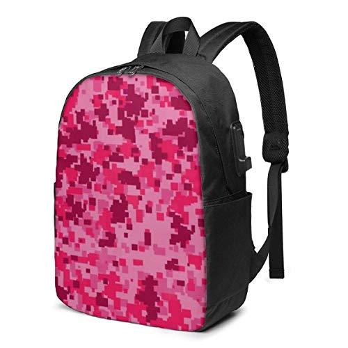 BGDFN Mochila unisex para niños de 17 pulgadas USB de camuflaje rosa multiusos mochilas elegantes para el trabajo