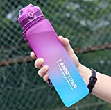 Botellas de agua grandes de 1 litro con marcador, Tritan libre de BPA reutilizables con asa para gimnasio, al aire libre y camping, 1 clic abierto con cerradura