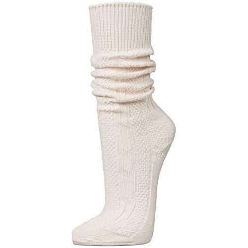 PAULGOS Trachtensocken Trachtenstrümpfe Socken Kniestrümpfe mit Zopfmuster in 3 Farben Gr. 39-47, Farbe:Weiss, Schuhgröße:40
