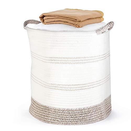 "Laundry Basket, POZEAN Blanket Storage 16"" Plant Basket, Cotton Rope Woven Baskets for Storage, Toy Storage, Dog Toy Basket, Soft Baby Laundry Basket, Nursery Cotton Rope Basket, Woven Plant Basket"