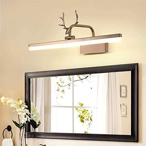 Amkoc Hirschkopf Schminklicht Spiegel Beleuchtung LED Bad Wasserdichte IP44 Wasserdicht Schrank-Beleuchtung, 240° Drehen Kupfer Spiegelleuchte Produktlänge:410mm
