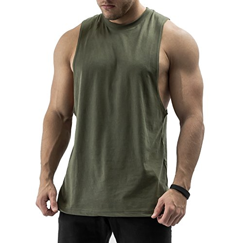 Sixlab Essentials Cut Off Tank Top Herren Muskelshirt Gym Fitness (M, Olive)