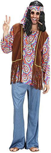 Widmann 7541H - Erwachsenenkostüm Psychedelic Hippie Mann, Hemd mit Weste, Hose, Stirnband und Kette