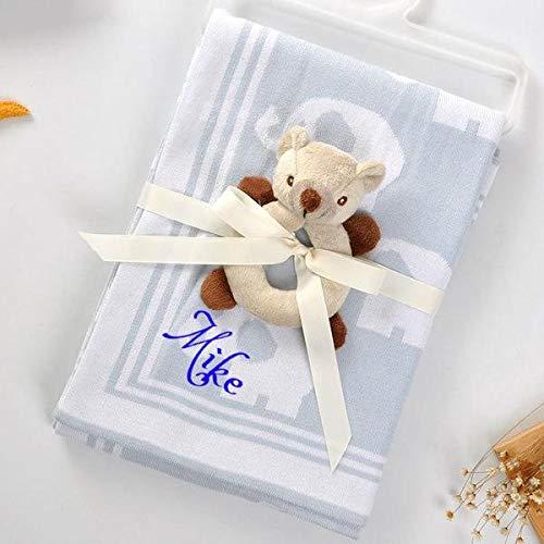 Personalized Baby Blanket Cotton Knit Blanket Elephant Custom Monogram Embroidered Gift Baby Shower Infant Warm Blankie Blanket Swaddle Blue Elephant Home Kitchen