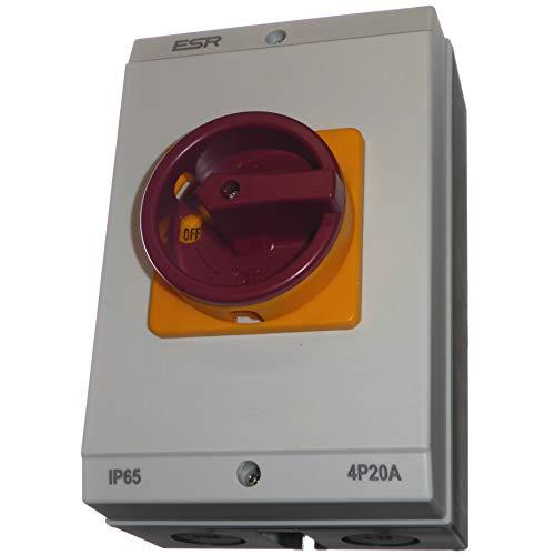 20 Amp 4 poli rotativo On Off isolatore interruttore - grande involucro impermeabile IP65