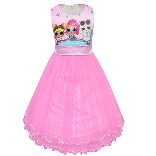 LOL Surprise OMG Mädchen Kleid Rundhalsausschnitt ärmellos Big Dot Cartoon Kurzarm 3-8 Jahre (8943pink, 120(4-5Jahre))
