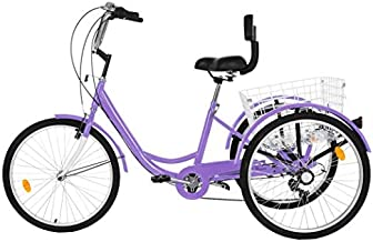 NATIVEUSO Adult Tricycles 7 Speed,Cruiser Bicycles for Womens,24 inch 3 Wheel Bikes, Three-Wheeled Bicycles Cruise Trike with Shopping Basket for Seniors, Women, Men (Purple)