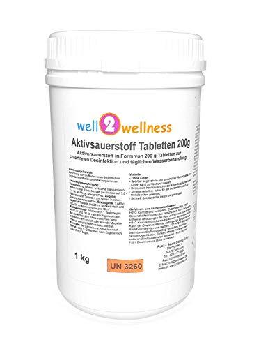 well2wellness Aktivsauerstoff Tabletten 200g / Sauerstofftabletten/O²-Tabletten 200g chlorfrei - 1,0 kg