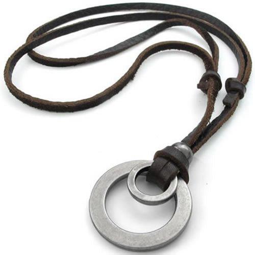 Konov F22685 - Collar con colgante para hombre y mujer, correa de cuero ajustable, anillo doble, estilo retro, con bolsa de regalo, color marrón y plateado.