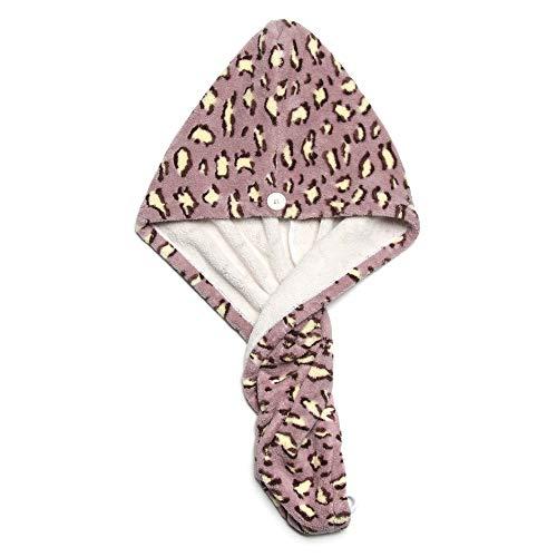 Rinasun Candy Color Wrap Leopard Print Head Wrap Bufanda Toalla de baño Absorción de agua de pelo seco Turbante Ducha Sombrero seco Toalla de pelo de microfibra (púrpura)
