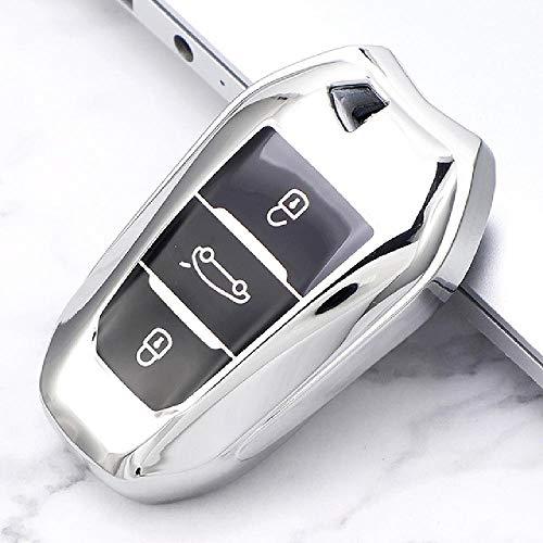 FBFGSoft TPU Funda para Llave de Coche Cubierta Completa para Peugeot 308408508 2008 3008 4008 5008 Citroen C4 C4L C6 C3-XR Accesorios de Carcasa Inteligente
