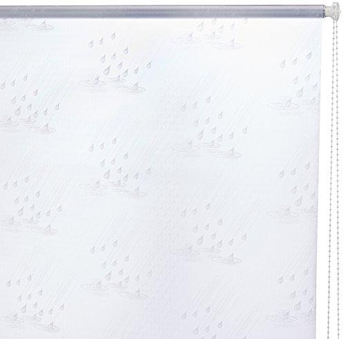 ECO-DuR,4024879001919,Ersatzvorhang Kassetten Duschrollo Seitenzug 134cm - Tropfen weiß