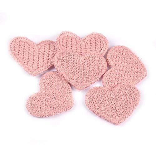 DUO ER 30pcs Forma de corazón Parches apliquees Suministros de Costura para Ropa Pegatinas Handmade Stick-On Mochila DIY Decoración...