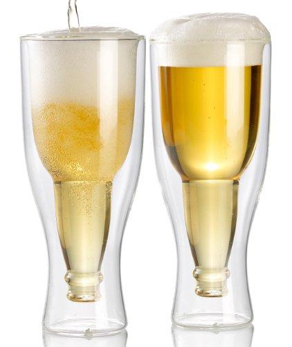 Infactory, Bicchiere a Doppia Parete: Set da 2 Bicchieri da Birra, in Vetro, a Doppia Parete, 0,2 Litri (Bicchieri per Birra in Vetro, a Doppia Parete, Prodotto Divertente)