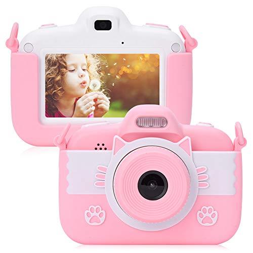 Kindercamera, digitale mini-kindercamera, speelgoedfoto- en videocamera met 3 inch HD-touchscreen, 128 GB geheugenkaart, ingebouwde luidspreker en microfoon, siliconen hoesje(Roze)