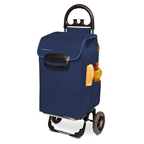 Himy Einkaufstrolli XL in blau mit 78 Liter Volumen - Shoppingwagen Einkaufstrolley klappbar bis 50kg belastbar mit Außentaschen
