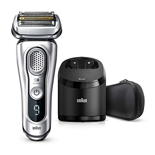 Braun Series 9 9290cc Electric Razor for Men, Rechargeable and Cordless Electric Shaver, Foil Shaver, Silver, with Clean&Charge Station and Travel Case