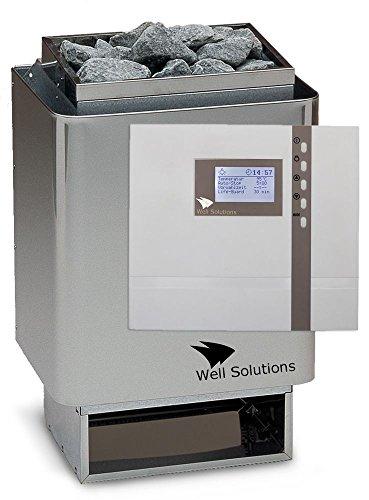 Well Solutions Edelstahl Sauna Ofen 34A mit Premium Steuerung Econ D4 Saunatechnik Made in Germany 9 kW D4