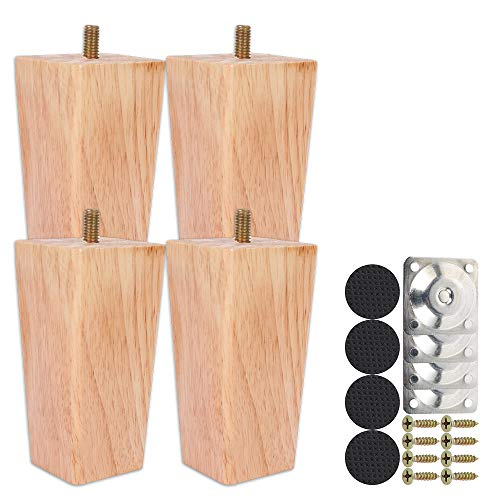 Juego de 4 patas de madera rectas de 10 cm, juego de patas de mesa baja de madera, con tornillo M8 antideslizante y placa de montaje para sofá, cama, silla de noche, armario (color natural, 10 cm)