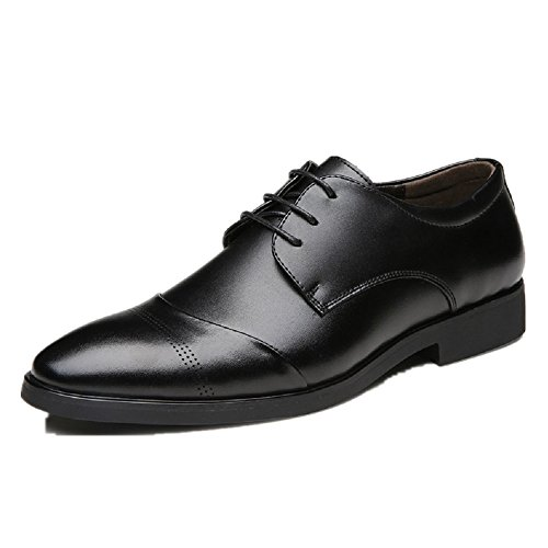 Business Herren Anzugschuhe, Lederschuhe Schnürhalbschuhe Oxford Schuhe Smoking Lackleder Hochzeit Derby Leder Brogue, Gr.-43  EU/Herstellergroße-265, Schwarz