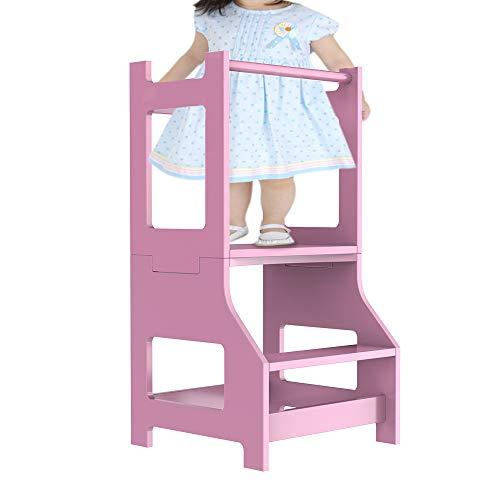 Taburete de cocina infantil con 2 niveles, torre de aprendizaje para niños, torre de pie para niños pequeños, color rosa
