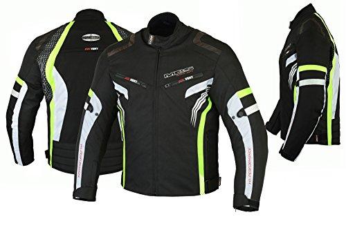 MBSmoto MJ22 Max Motocicleta Motocicleta Corta Textile Touring Jacket (Amarillo,...