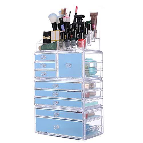 Unbekannt Kosmetische Aufbewahrungsbox, Abnehmbare 4-in-1-Kombination Transparente Acryl Kosmetik...
