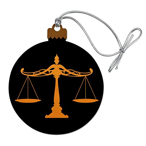 GRAPHICS & MORE Weihnachtsbaumschmuck aus Holz, Motiv Waagen der Gerechtigkeit, für Rechtsanwälte
