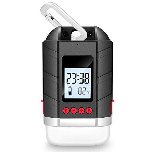 LEDランタン 15600mAh大容量 USB充電式 【3色切替/四つの点灯モード/IP65準拠】LCD時間/温度/電池残量表示 無段階調光可能 地震/災害/旅行/出張/緊急用などの必携品