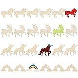 BELLE VOUS Sagome Legno da Decorare (Set da 24) Decorazioni Legno Grezzo (3X Unicorni, 1x Arcobaleno) - Decorazioni Legno per Fai da Te, Arte ed Artigianato e Casa - Decoupage Legno Decorazioni