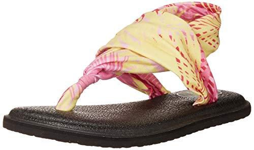 Sanuk Kids Girls' Lil Yoga Sling 2 Prints Flat Sandal, pink palm, 2/3 M US Little Kid