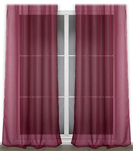 BEAUTEX Vorhang mit Ösen oder Kräuselband, transparente Gardine Dolly, Farbe und Größe wählbar (Ösenschal - Breite 140 cm - Höhe 240 cm - 2 Stück - Bordeaux)