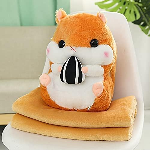 XINQ 40 cm Nette Hamster Plüschtiere Gefüllte Tiere Hamster mit Decke 3 in 1 Winter Handwärmer Maus Puppen Für Kinder Mädchen Geschenk Toy mitHandwarmer Grau (Color : Pink, Size : Backpack)