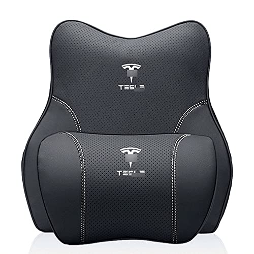 SXFYZCY 2X Asiento de Coche, reposacabezas, Almohada para el Cuello, Soporte Cervical para el Cuello, Accesorios de cojín de Espuma viscoelástica Lumbar para Tesla Model 3 Model X Model S Y