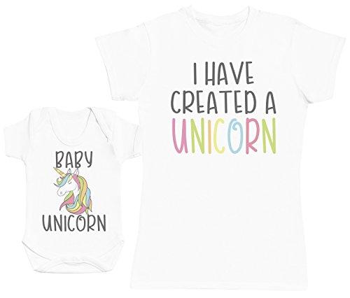 Zarlivia Clothing Baby Unicorn - Ensemble Mère Bébé Cadeau - Femme T Shirt & bébé Bodys - Blanc - XX-Large & Naissance