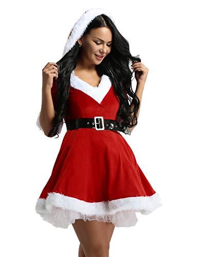 iiniim Disfraz Miss Santa Navidad Vestido de Lujo con Capucha Cosplay Traje de Terciopelo para Mujer Chica Sra. Mamá Noel Tutú Rojo con Cinturón Ropa de Fiesta Manga Corta Rojo L